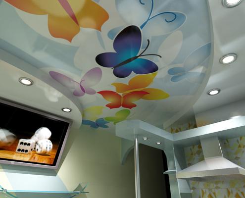 Дизайн потолков кухни