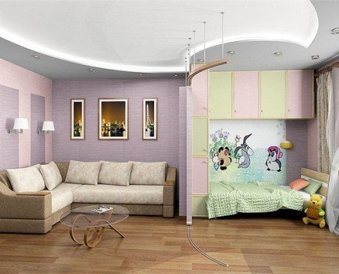 Интерьер однокомнатной квартиры с ребенком