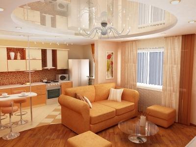 дизайн гостиной вместе с кухней