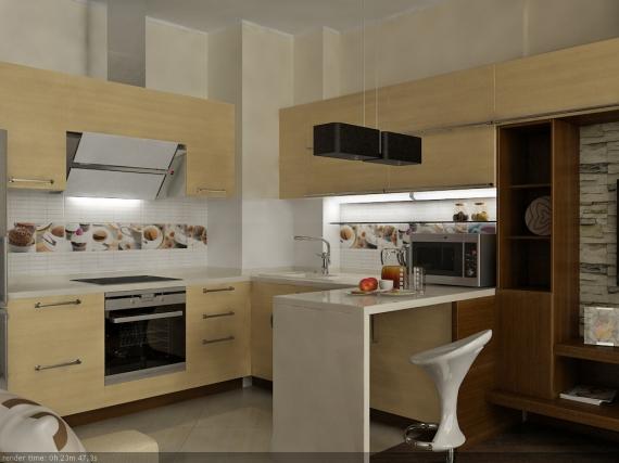 Дизайн кухонной зоны в комнате-студии