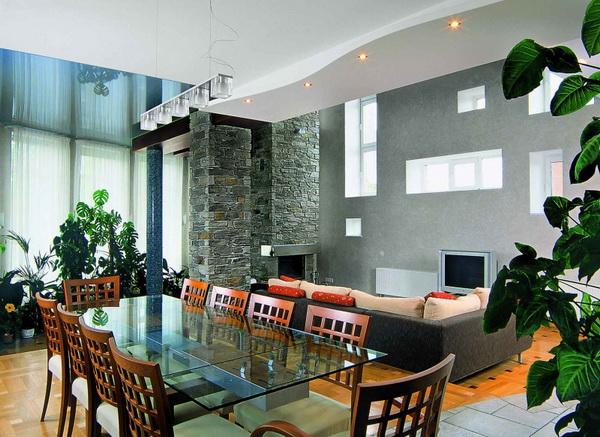 Дизайн столовой и зоны отдыха в комнате-студии