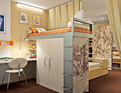 Двухъярусное дизайнерское решение – более нормально для спального места ребенка
