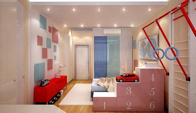 интерьер спальни с детской кроватью