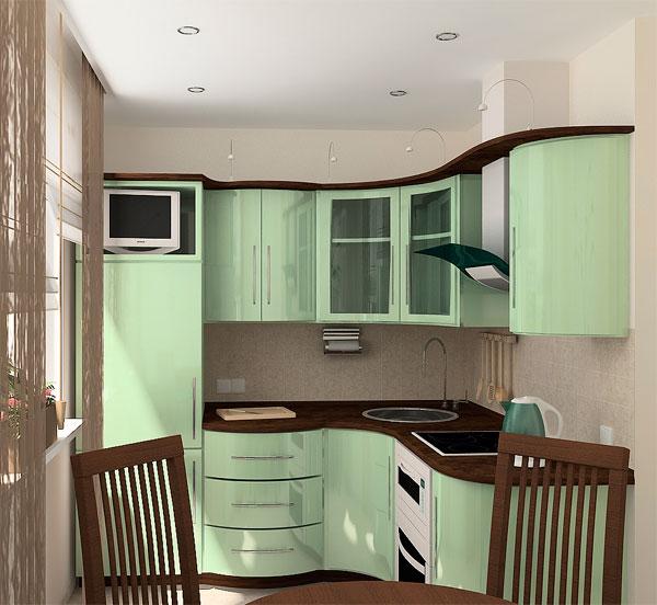 Оформление кухни в зеленых тонах